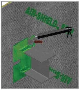 To ensure seal, apply AIR-SHIELD LIQUID FLASHING over penetration and spread continuously around the penetration for proper seal of AIR-SHIELD SMP.
