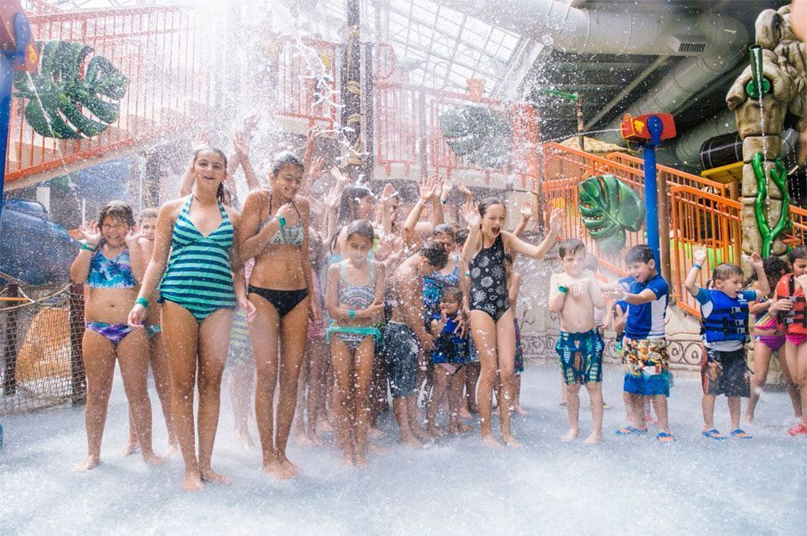 Splashdown Safari features net crawls, water guns, a variety of slides and multiple levels of interactive fun under a retractable roof.